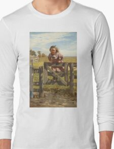 John George Brown - Swinging On A Gate. Female child portrait: cute girl, girly, female, pretty angel, child, beautiful dress, face with hairs, smile, little, kids, baby Long Sleeve T-Shirt