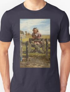 John George Brown - Swinging On A Gate. Female child portrait: cute girl, girly, female, pretty angel, child, beautiful dress, face with hairs, smile, little, kids, baby Unisex T-Shirt