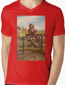 John George Brown - Swinging On A Gate. Female child portrait: cute girl, girly, female, pretty angel, child, beautiful dress, face with hairs, smile, little, kids, baby Mens V-Neck T-Shirt