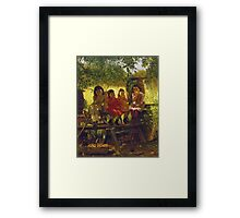 John George Brown - The Cider Mill. Female child portrait: cute girl, girly, female, pretty angel, child, beautiful dress, face with hairs, smile, little, kids, baby Framed Print