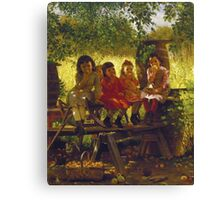 John George Brown - The Cider Mill. Female child portrait: cute girl, girly, female, pretty angel, child, beautiful dress, face with hairs, smile, little, kids, baby Canvas Print
