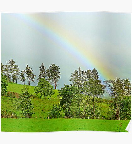 A Rainbow Over Irish Fields Poster