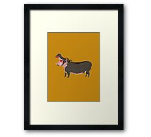 Hipster Hippo (Tan Background) Framed Print