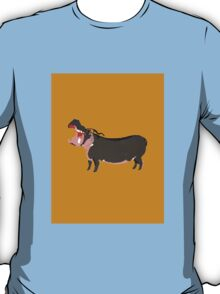 Hipster Hippo (Tan Background) T-Shirt