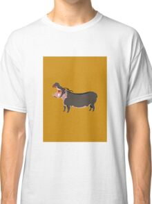 Hipster Hippo (Tan Background) Classic T-Shirt
