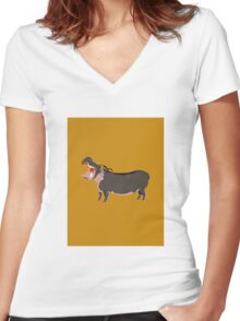 Hipster Hippo (Tan Background) Women's Fitted V-Neck T-Shirt