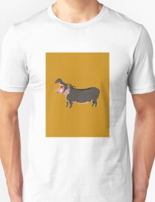 Hipster Hippo (Tan Background) Unisex T-Shirt