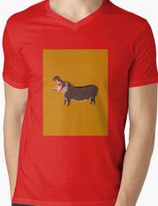 Hipster Hippo (Tan Background) Mens V-Neck T-Shirt