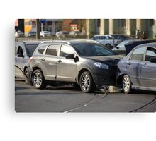 accident involving three  cars  Canvas Print
