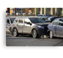 accident involving three  cars  Canvas Print