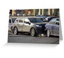 accident involving three  cars  Greeting Card