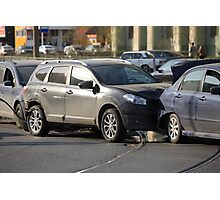 accident involving three  cars  Photographic Print