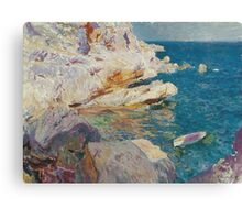 Joaquin Sorolla Y Bastida - Rocks At Javea. The White Boat 1905. Mountains landscape: mountains, rocks, rocky nature, sky and clouds, Sea views, peak, forest, rustic, hill, sea, hillside Canvas Print