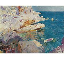 Joaquin Sorolla Y Bastida - Rocks At Javea. The White Boat 1905. Mountains landscape: mountains, rocks, rocky nature, sky and clouds, Sea views, peak, forest, rustic, hill, sea, hillside Photographic Print