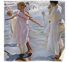 Joaquin Sorolla Y Bastida - Time For A Bathe, Valencia 1909. Mother with kid portrait: cute girl, mother and daughter, sea views, child, beautiful dress, lovely family, mothers day, memory,baby Poster
