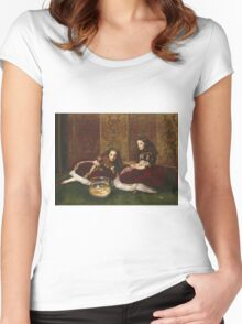 John Everett Millais - Leisure Hours. Girl portrait: cute girl, girly, female, pretty angel, child, beautiful dress, face with hairs, smile, little, kids, baby Women's Fitted Scoop T-Shirt