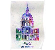 Paris Landmark Les Invalides in watercolor Poster