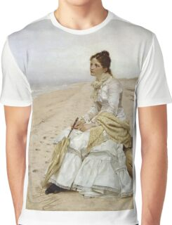 John George Brown - Waiting For William. Woman portrait: sensual woman, girly art, female style, pretty women, femine, beautiful dress, cute, creativity, love, sexy lady, erotic pose Graphic T-Shirt