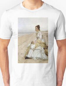 John George Brown - Waiting For William. Woman portrait: sensual woman, girly art, female style, pretty women, femine, beautiful dress, cute, creativity, love, sexy lady, erotic pose Unisex T-Shirt