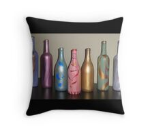 Painted Bottles Throw Pillow