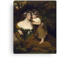 John Hoppner - The Countess Of Darnley And Her Daughter, Lady Elizabeth Bligh  1795. Mother with kid portrait: cute girl, mother and daughter, female, pretty angel, child, beautiful lovely family Canvas Print