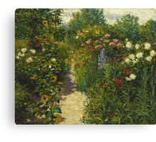 John Leslie Breck - Garden At Giverny (In Monet S Garden). Garden landscape: garden view, trees and flowers, blossom, nature, botanical park, floral flora, wonderful flowers, garden, flower Canvas Print