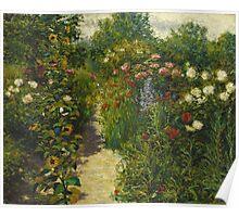 John Leslie Breck - Garden At Giverny (In Monet S Garden). Garden landscape: garden view, trees and flowers, blossom, nature, botanical park, floral flora, wonderful flowers, garden, flower Poster