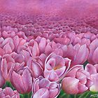 Field of pink tulips by Marion Yeo