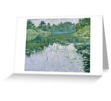 John Leslie Breck - Grey Day On The Charles. Lake landscape: trees, river, land, forest, coast seaside, waves and beach, marine naval navy, lagoon reflection, sun and clouds, nautical panorama, lake Greeting Card