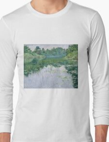 John Leslie Breck - Grey Day On The Charles. Lake landscape: trees, river, land, forest, coast seaside, waves and beach, marine naval navy, lagoon reflection, sun and clouds, nautical panorama, lake Long Sleeve T-Shirt