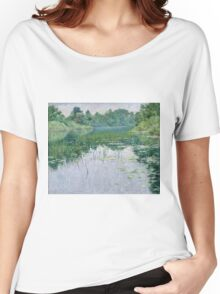 John Leslie Breck - Grey Day On The Charles. Lake landscape: trees, river, land, forest, coast seaside, waves and beach, marine naval navy, lagoon reflection, sun and clouds, nautical panorama, lake Women's Relaxed Fit T-Shirt