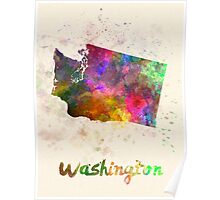 Washington US state in watercolor Poster