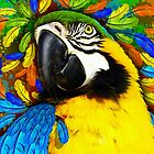 Gold and Blue Macaw Parrot Fantasy by BluedarkArt