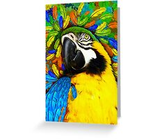 Gold and Blue Macaw Parrot Fantasy Greeting Card