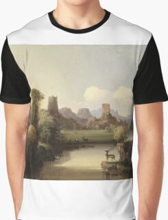 John Mix Stanley - Chain Of Spires Along The Gila River. River landscape: trees, beach, bridge, riverside, waves and beach, marine naval, yachts and ships, sun and clouds, nautical panorama, lake Graphic T-Shirt
