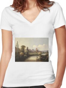 John Mix Stanley - Chain Of Spires Along The Gila River. River landscape: trees, beach, bridge, riverside, waves and beach, marine naval, yachts and ships, sun and clouds, nautical panorama, lake Women's Fitted V-Neck T-Shirt