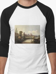 John Mix Stanley - Chain Of Spires Along The Gila River. River landscape: trees, beach, bridge, riverside, waves and beach, marine naval, yachts and ships, sun and clouds, nautical panorama, lake Men's Baseball ¾ T-Shirt