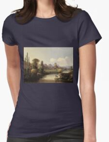 John Mix Stanley - Chain Of Spires Along The Gila River. River landscape: trees, beach, bridge, riverside, waves and beach, marine naval, yachts and ships, sun and clouds, nautical panorama, lake Womens Fitted T-Shirt