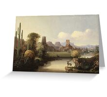 John Mix Stanley - Chain Of Spires Along The Gila River. River landscape: trees, beach, bridge, riverside, waves and beach, marine naval, yachts and ships, sun and clouds, nautical panorama, lake Greeting Card