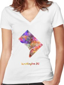 Washington DC US state in watercolor Women's Fitted V-Neck T-Shirt