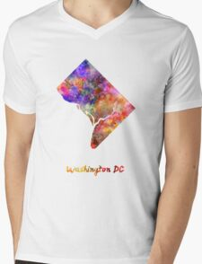 Washington DC US state in watercolor Mens V-Neck T-Shirt