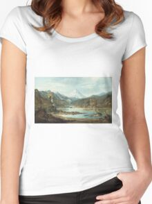 John Mix Stanley - Mountain Landscape With Indians. Mountains landscape: mountains, rocks, rocky nature, sky and clouds, trees, peak, forest, rustic, hill, travel, hillside Women's Fitted Scoop T-Shirt