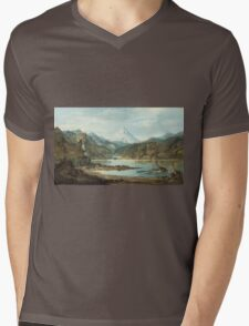 John Mix Stanley - Mountain Landscape With Indians. Mountains landscape: mountains, rocks, rocky nature, sky and clouds, trees, peak, forest, rustic, hill, travel, hillside Mens V-Neck T-Shirt