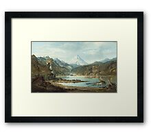 John Mix Stanley - Mountain Landscape With Indians. Mountains landscape: mountains, rocks, rocky nature, sky and clouds, trees, peak, forest, rustic, hill, travel, hillside Framed Print