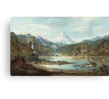 John Mix Stanley - Mountain Landscape With Indians. Mountains landscape: mountains, rocks, rocky nature, sky and clouds, trees, peak, forest, rustic, hill, travel, hillside Canvas Print