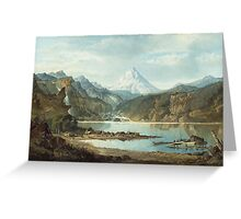 John Mix Stanley - Mountain Landscape With Indians. Mountains landscape: mountains, rocks, rocky nature, sky and clouds, trees, peak, forest, rustic, hill, travel, hillside Greeting Card