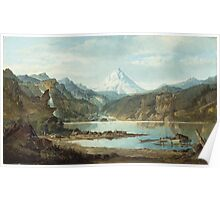 John Mix Stanley - Mountain Landscape With Indians. Mountains landscape: mountains, rocks, rocky nature, sky and clouds, trees, peak, forest, rustic, hill, travel, hillside Poster