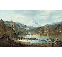 John Mix Stanley - Mountain Landscape With Indians. Mountains landscape: mountains, rocks, rocky nature, sky and clouds, trees, peak, forest, rustic, hill, travel, hillside Photographic Print