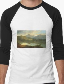 John Mix Stanley - Western Landscape. Lake landscape: trees, river, land, forest, coast seaside, waves and beach, marine naval navy, lagoon reflection, sun and clouds, nautical panorama, lake Men's Baseball ¾ T-Shirt