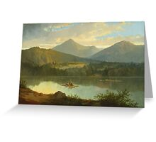 John Mix Stanley - Western Landscape. Lake landscape: trees, river, land, forest, coast seaside, waves and beach, marine naval navy, lagoon reflection, sun and clouds, nautical panorama, lake Greeting Card